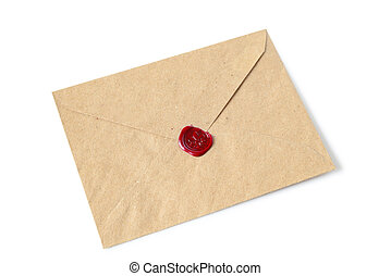 envelope with wax seal - Old envelope with wax seal on a...