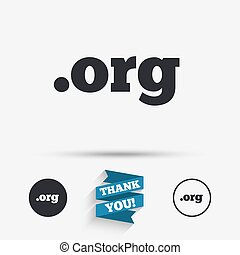 Domain ORG sign icon Top-level internet domain symbol Flat...