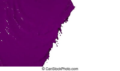 pink liquid flows from above and fills the screen. Colored paint