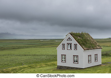 Traditional House on Iceland - Glaumbaer, Iceland - July 2,...