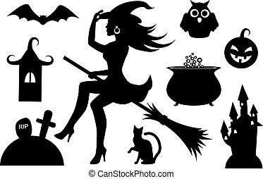 silhouettes of Halloween characters - black silhouettes...