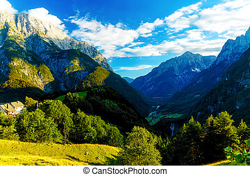 Beautiful summer landscape. Slovenia mountain and valley. -...
