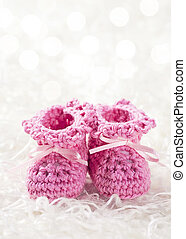 Pink baby crochet shoes
