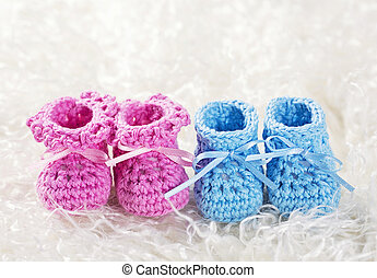Pink and blue baby crochet shoes