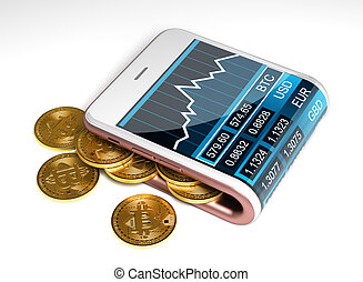 Concept Of Pink Digital Wallet And Bitcoins. Gold Bitcoins...