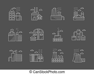 Plants and factories white line vector icons set -...