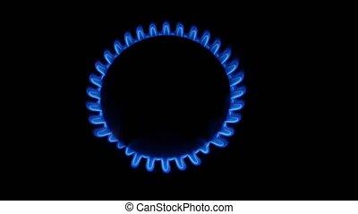 Round gas burner. Close up - Round gas burner, fire, blue...