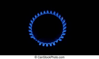 Lit gas burner and off. Close up - Lit gas burner and off,...