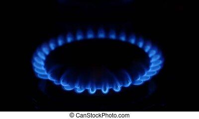 Gas burner flame Close up - Gas burner flame, fire, blue...