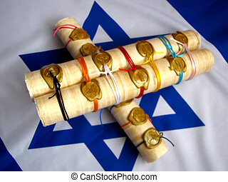 A scroll on Israel\\\'s flag - A rolled scroll of papyrus...