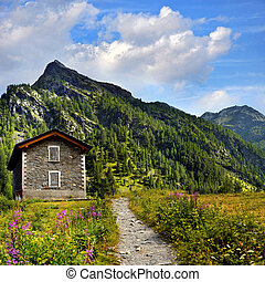 old shelter with path in alpien mountains landscape