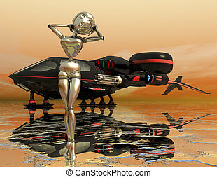 science fiction - digital rendering of a science fiction...