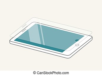 Smartphone display with protector glass or film. Mobile...