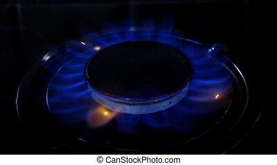 Gas burner flame. Close up. Slow motion