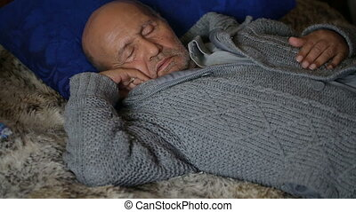 grandpa is sleeping - Grandpa sleeps during the day at home