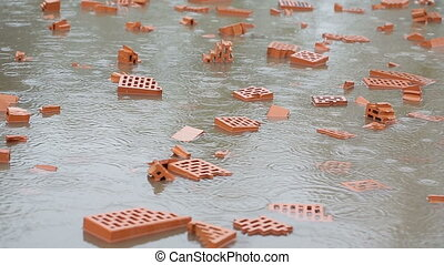 Flooding at a construction site