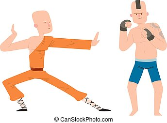 Fighter man vector - Fighter monk and kickboxer man kick...