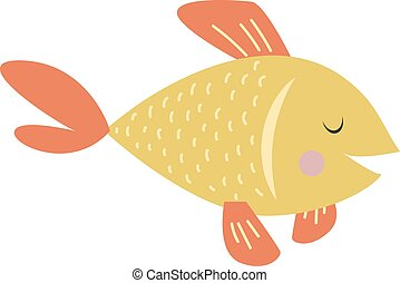 Gold fish vector illustration - Gold fish nature marine fish...