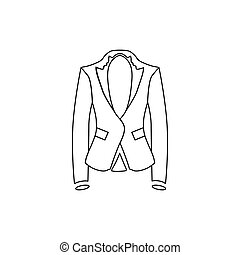 Woman jacket icon, outline style - Woman jacket icon in...