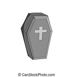 Coffin icon, black monochrome style - Coffin icon in black...