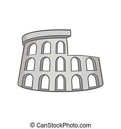 Colosseum icon, black monochrome style - Colosseum icon in...