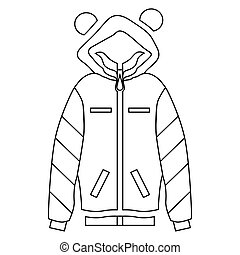 Woman hoodie icon, outline style - Woman hoodie icon in...