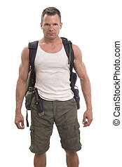 Adventurous male hiker on white background - Handsome...