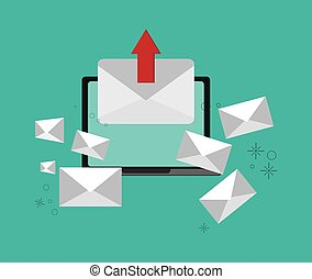 web messaging through computer image vector illustration...