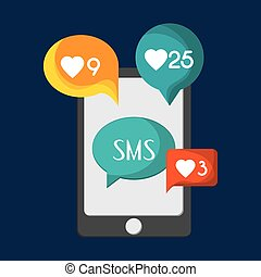 mobile phone messaging image - flat design mobile phone...
