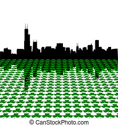 Chicago skyline with shamrocks - chicago skyline Happy St...