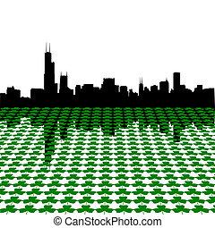 Chicago skyline with shamrocks - chicago skyline Happy St...
