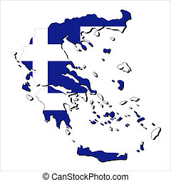 Greece map flag - map of Greece with their flag illustration