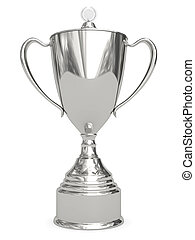 Silver trophy cup on white background High resolution 3D...