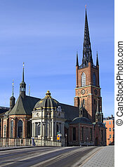 Riddarholmen church, Stockholm - The Riddarholmen church in...