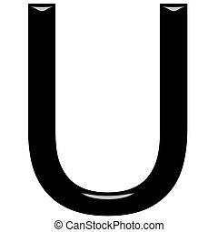 3D Letter U - 3d letter U isolated in white
