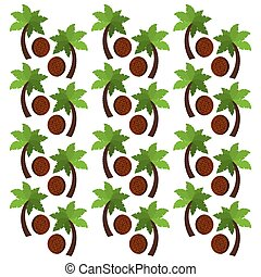Coconut fruits and palm trees background design