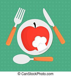 Apple fruit with chefs hat design - Apple with chefs hat and...