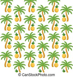 Pineapples fruits and palm trees background design