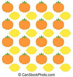 Tangerine and lemon fruits background design - Tangerine and...