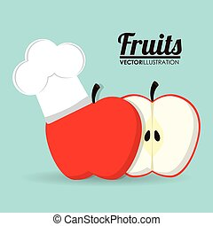 Apple fruit with chefs hat design - Apple with chefs hat...
