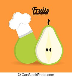 Pear fruit with chefs hat design - Pear with chefs hat icon...