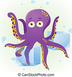 Octopus Fortune Teller with Crystal Cube. Editable Vector...