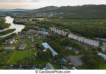 Yelizovo town on Kamchatka Peninsula View from helicopter