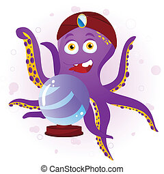 Octopus Fortune Teller with Crystal Ball. Editable Vector...
