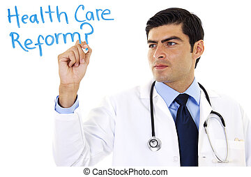 Health Care Reform - Stock image of doctor writing Health...