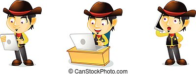 Cowboy with phone vector