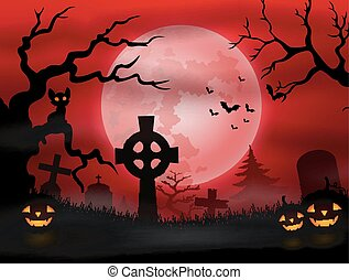 Halloween graveyard with full moon