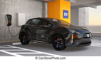 Black SUV in parking garage - Black electric SUV recharging...