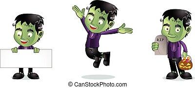 Green monster jump vector art