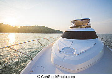 luxury boat yacht in sunset time
